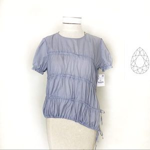 Zara Asymmetrical Ruched Blue & White Top
